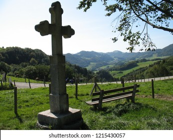 resting place with bench at nice aerial view on swiss jura hills at Langenbruck road. CH Switzerland. 1st June 2018
