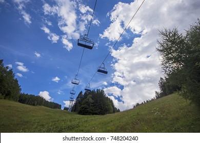 Resting ski lift at summer in Semmering Hirschenkogel Alpen mountains Austria