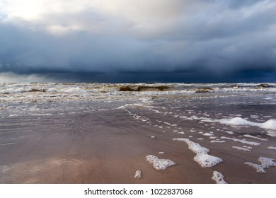 Restless Baltic sea in evening time.