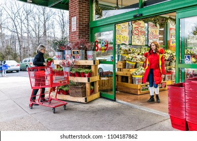 Reston, USA - December 18, 2017: Trader Joe's employee in red clothes with customer, trolley shopping carts by store entrance doors outside women, winter flower pots, gardening plants in Virginia