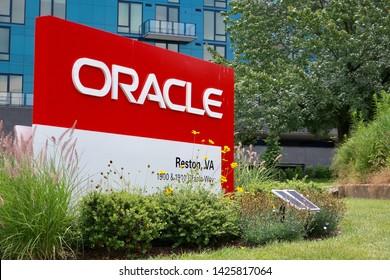 RESTON, VA - JUNE 16, 2019: ORACLE sign at office  building location entrance