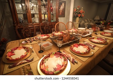 Reston, Virginia, USA - November 26, 2018: The table is set for Thanksgiving in a Bolivian-American household.