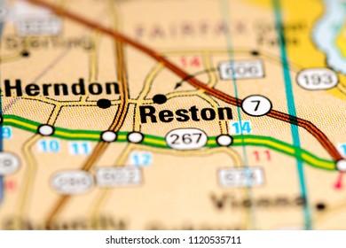 Reston. Virginia. USA on a map