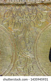 Restoration: gold restoration, old icon. close up. conservation of paintings. conservation of sculptures