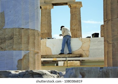 Restoration works inside the Parthenon temple on Athenian Acropolis, Greece, March 6 2018.