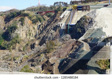 Restoration works of the Kumamoto earthquake that occurred in April 2016,As of January 2019,Construction site of Minamiaso village, Aso County, Kumamoto prefecture,