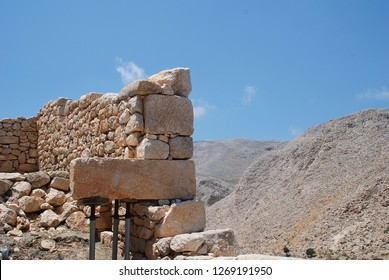 A restored ancient retaining wall in the hills above Chorio on the Greek island of Halki. Built in the isodomic style of masonry, the wall dates from the 4th Century BC.