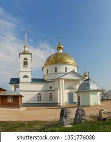 Restored cathedral in Simansky monastery in Ostrov, Russia
