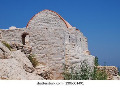 The restored chapel in the remains of the medieval Crusader Knights castle above Chorio on the Greek island of Halki.