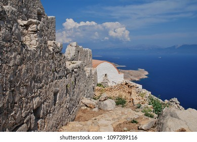 The restored chapel in the ruins of the medieval Crusader Knights castle in the hills above Emborio on the Greek island of Halki.
