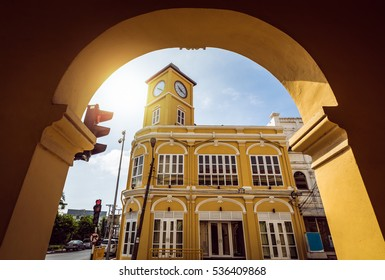 Restored chino-Portuguese clock tower in phuket old town, Thailand