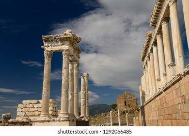 Restored corinthian colums at ancient Pergamon archeological site at Bergama, Izmir, Turkey - November 11, 2012