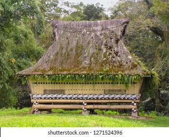 Restored longhouse that belonged to King Simalungan, open air museum in Pematang Purba, Sumatra, Indonesia