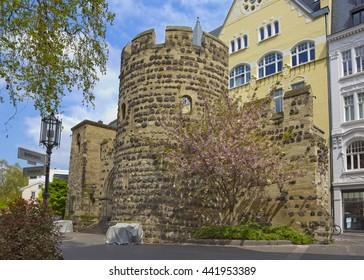 Restored medieval wall gate Sterntor (star gate) in Bonn, Germany