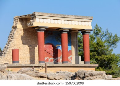 Restored Northern Entrance to the Palace at Knossos with a Charging Bull Fresco