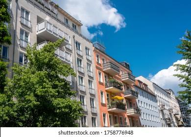 Restored old apartment building in Berlin, Germany Prenzlauer Berg District