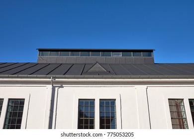 Restored old pitched roof top with tar paper, with a build up shed light