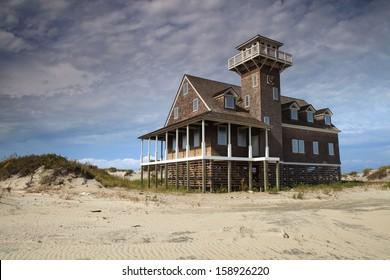 Restored Oregon Inlet Life Saving Station on the North Carolina Outer Banks coast Cape Hatteras National seashore