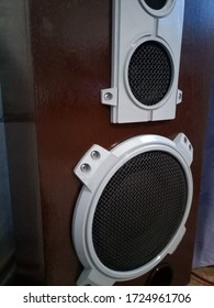 The restored and painted Amphiton 35as-018 speaker system. Soviet vintage powerful acoustics.