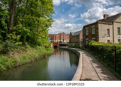 A restored section of the Stroudwater Canal leading to the Stroud Brewery Bridge , Wallbridge, Stroud, United Kingdom