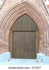 Restored St. John's church in Tartu, Estonia -  door