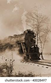 Restored steam locomotive in action.