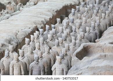 Restored Terra Cotta Warriors in a museum in Xian, China