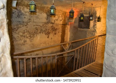restored traditional jewish residential quarter  of the early middle ages  in the old town of Safed, center of Kabbalah and jewish mysticism in Upper Galilee, Israel