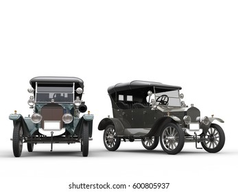 Restored vintage cars in metallic grey and blue - 3D Render