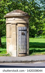 A restored watchmans sentry box in Norfold Crescent in the city of Bath