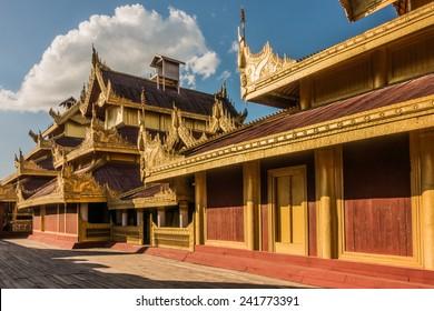 Restored wooden buildings at Mandalay Palace