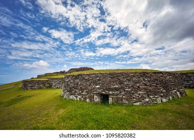 Restores stone houses at Orongo ceremonial villageRapa Nui National Park,  Easter Island, Chile.  UNESCO World Heritage Site