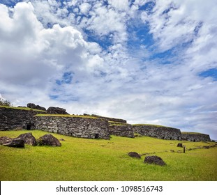 Restores stone houses at Orongo Ceremonial Village. Rapa Nui National Park,  Easter Island, Chile.  UNESCO World Heritage Site