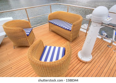 Restplace. Yacht upper deck