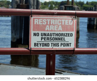 Restricted Area Sign on Dock