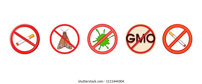 Restricted sign icon set. Cartoon set of restricted sign icons for your web design isolated on white background
