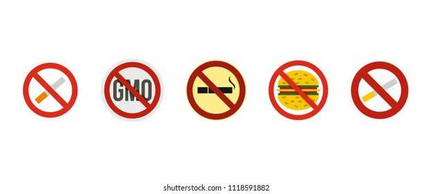 Restricted sign icon set. Flat set of restricted sign icons for web design isolated on white background