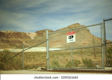Restricted Surveillance Area Warning Sign Fence