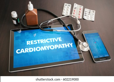 Restrictive cardiomyopathy (heart disorder) diagnosis medical concept on tablet screen with stethoscope.