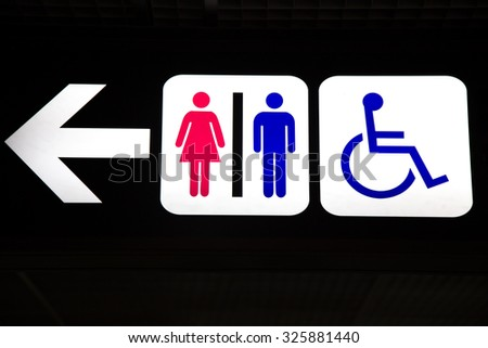 Bathroom sign with arrow Metal Restroom Male Female And Cripple Public Sing Bathroom Signs Sign Toilet Men And Women Toilet Shutterstock Restroom Male Female Cripple Public Sing Stock Photo edit Now