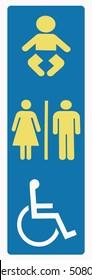 Restroom sign disabled in downtown Melbourne Australia