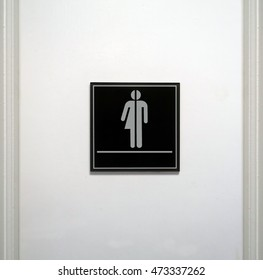 Restroom sign that is blank underneath the gender neutral graphic symbol