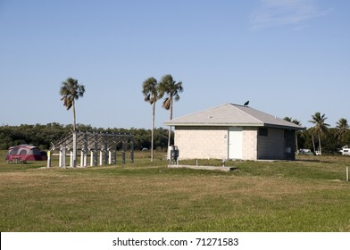 Restrooms with Solar Power at Camp Site in Everglades National Park.