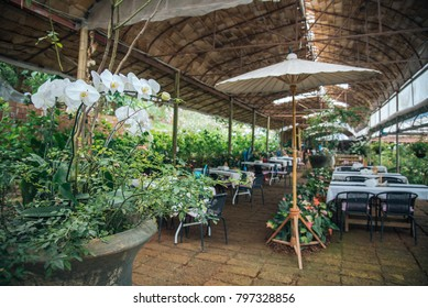 restuarant in English style under the wood shelter and white table decorative with flower