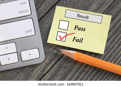 result showing failure, with desk background