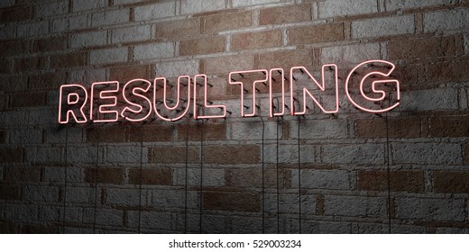 RESULTING - Glowing Neon Sign on stonework wall - 3D rendered royalty free stock illustration.  Can be used for online banner ads and direct mailers.