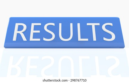 Results - 3d render blue box with text on it on white background with reflection