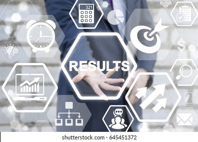 Results - Business Growing Concept Presentation. Analytical team work with financial result. Conceptual office life. Outcome and summary. Businessman offers results icon on virtual screen.