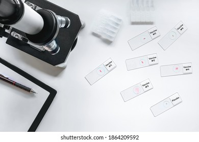 results of clinical trials. laboratory studies of drugs, blood and vaccines. Microscope and laboratory glasses