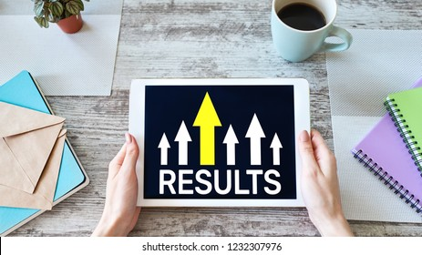 Results growth arrow on screen. Business and personal development concept.